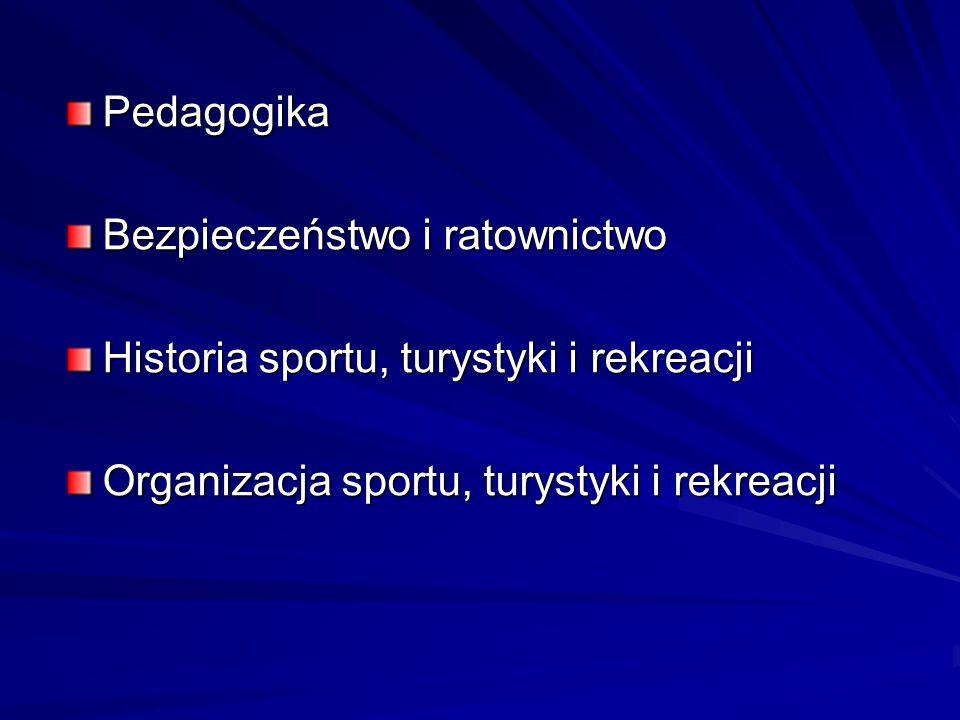 Pedagogika Bezpieczeństwo i ratownictwo. Historia sportu, turystyki i rekreacji.