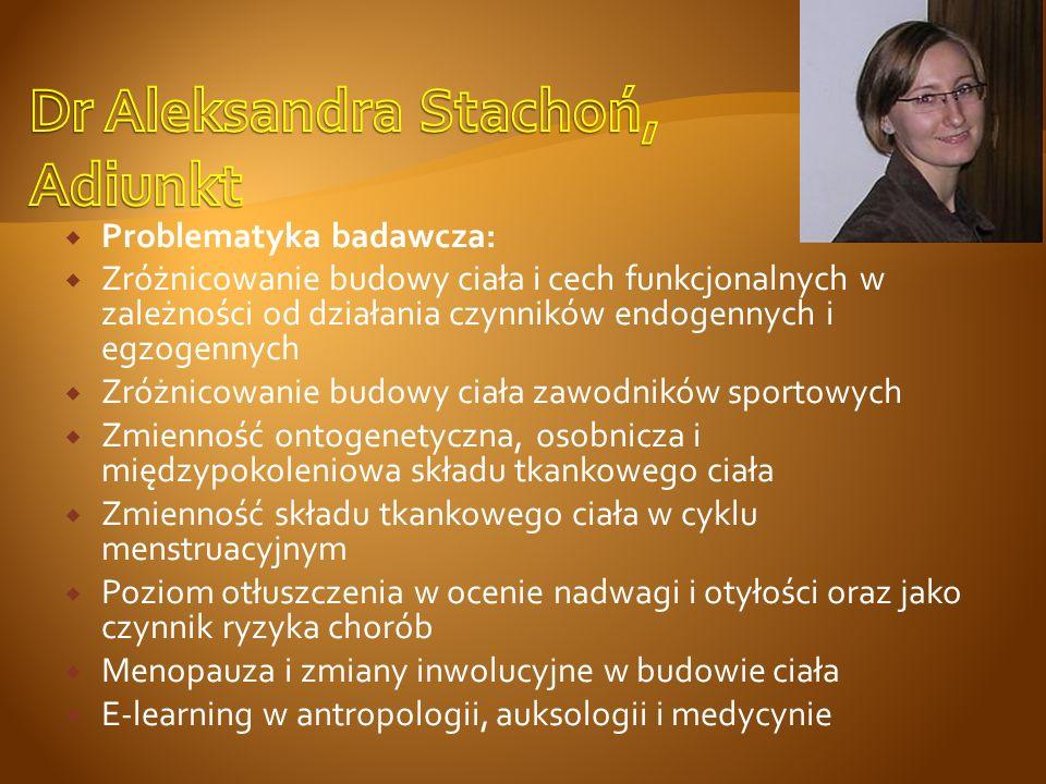 Dr Aleksandra Stachoń, Adiunkt