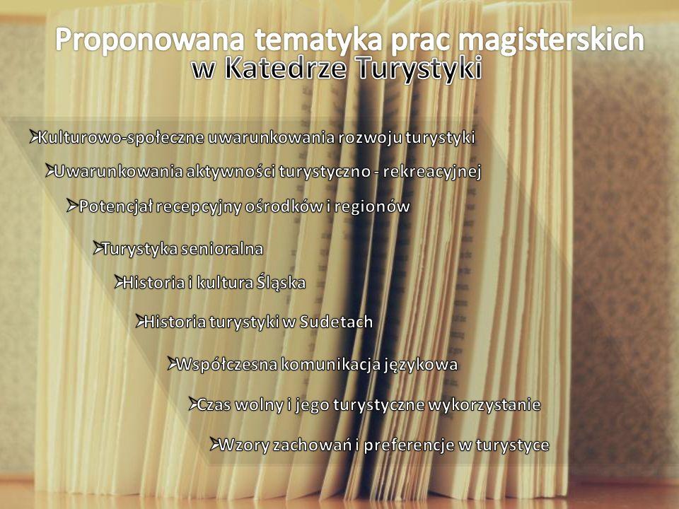 Proponowana tematyka prac magisterskich