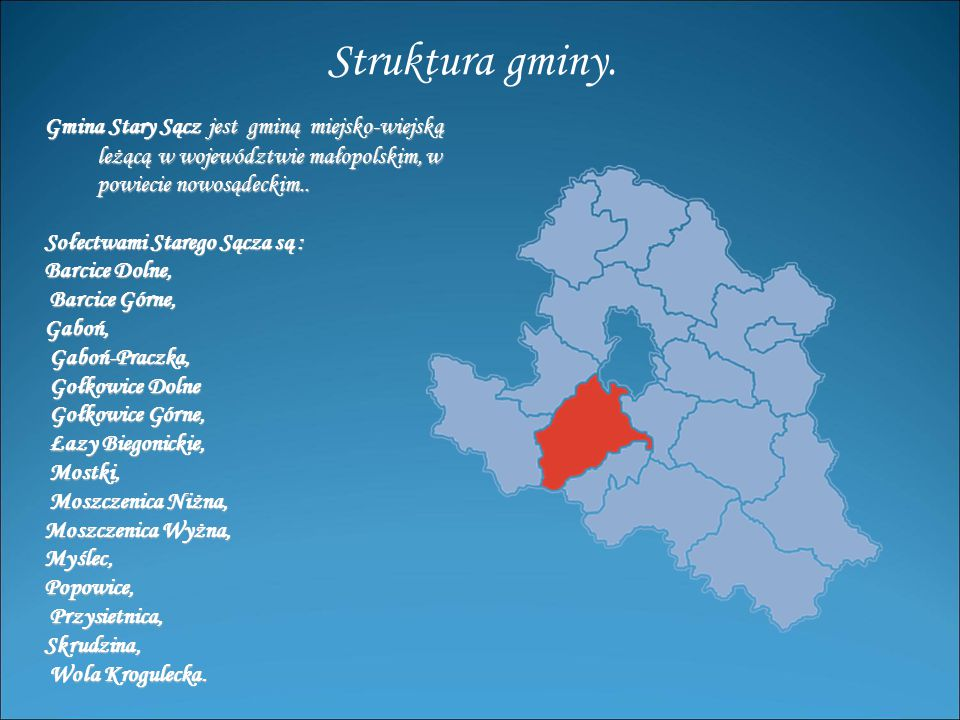 Struktura gminy. Gmina Stary Sącz jest gminą miejsko-wiejską