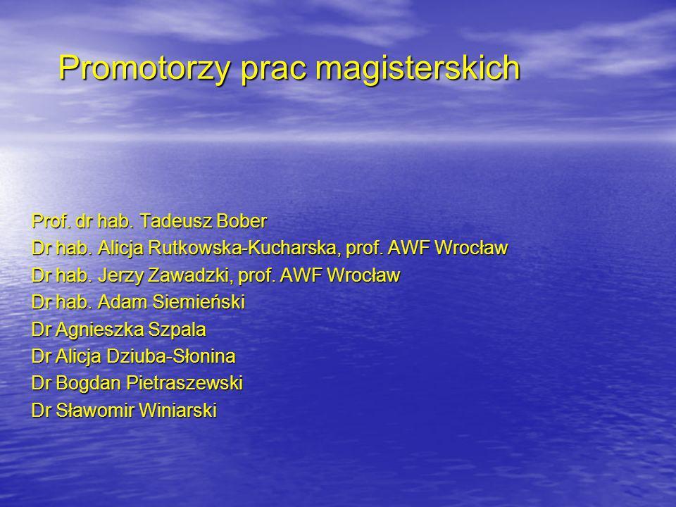 Promotorzy prac magisterskich