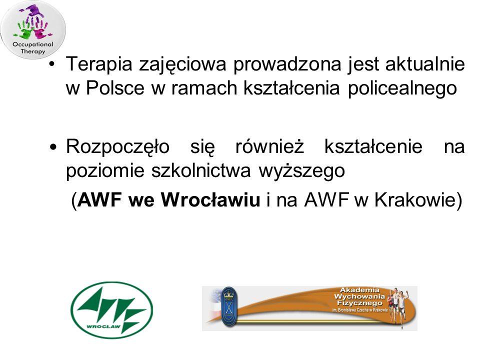 Terapia zajęciowa prowadzona jest aktualnie w Polsce w ramach kształcenia policealnego