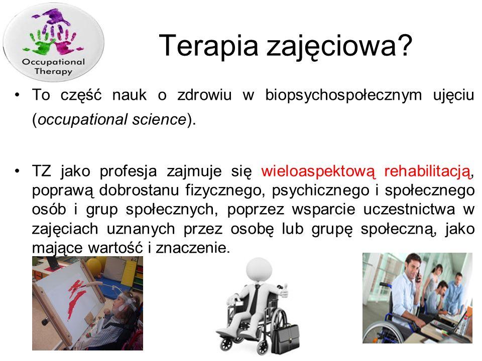 Terapia zajęciowa To część nauk o zdrowiu w biopsychospołecznym ujęciu (occupational science).