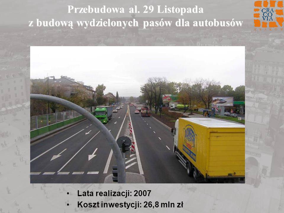 Przebudowa al. 29 Listopada z budową wydzielonych pasów dla autobusów