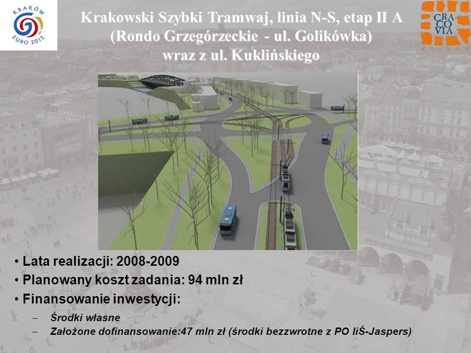 Krakowski Szybki Tramwaj, linia N-S, etap II A (Rondo Grzegórzeckie - ul. Golikówka) wraz z ul. Kuklińskiego