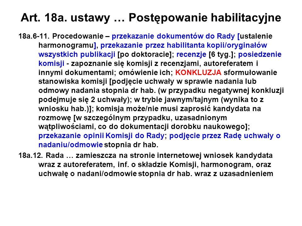 Art. 18a. ustawy … Postępowanie habilitacyjne