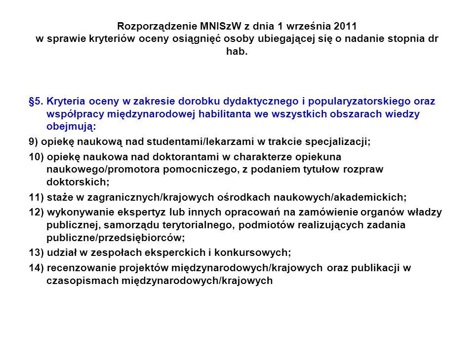 Rozporządzenie MNISzW z dnia 1 września 2011 w sprawie kryteriów oceny osiągnięć osoby ubiegającej się o nadanie stopnia dr hab.