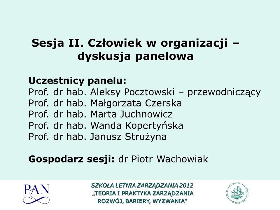 Sesja II. Człowiek w organizacji – dyskusja panelowa