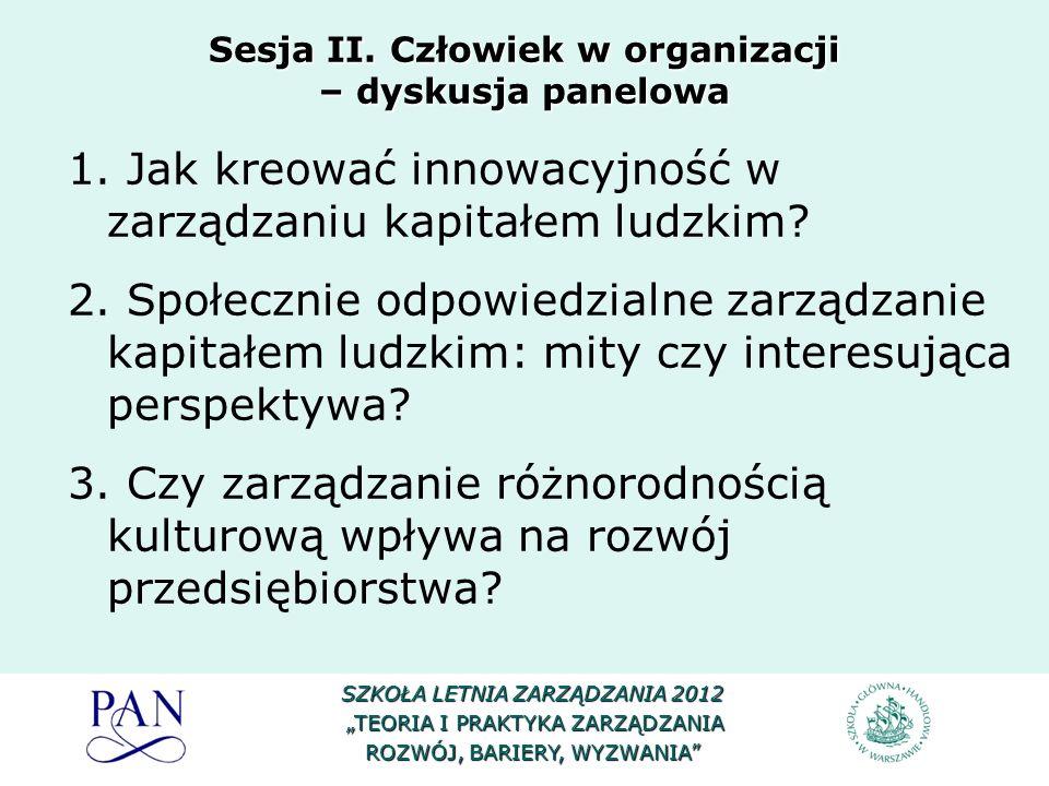 Sesja II. Człowiek w organizacji