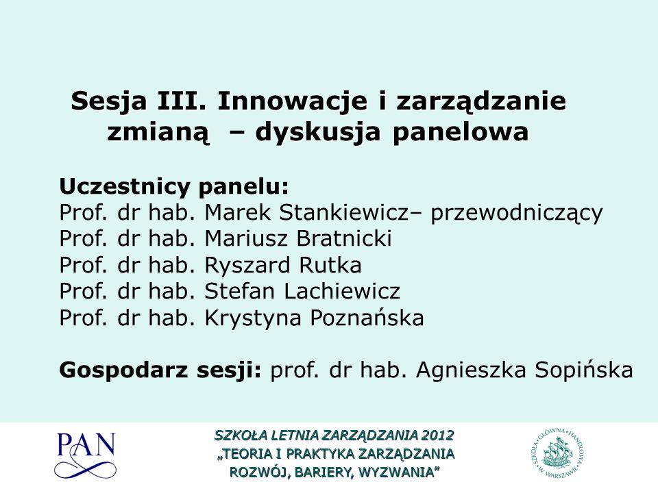 Sesja III. Innowacje i zarządzanie zmianą – dyskusja panelowa