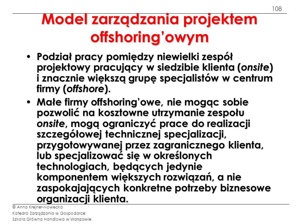 Model zarządzania projektem offshoring'owym