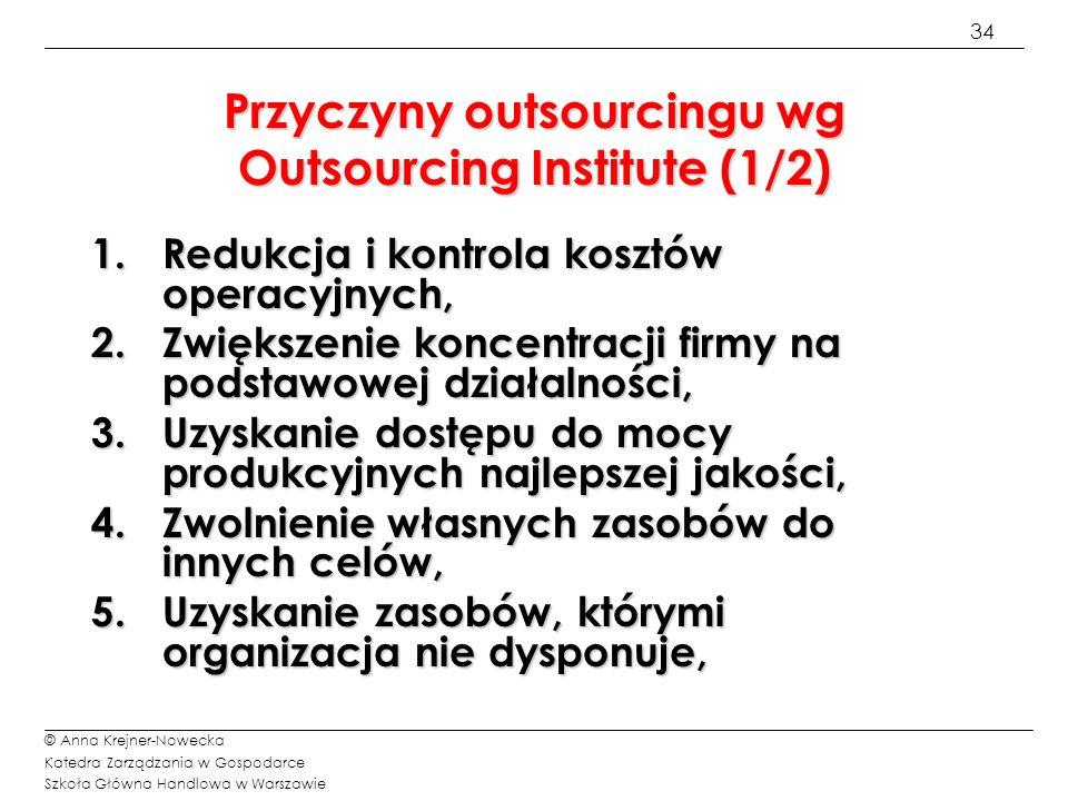 Przyczyny outsourcingu wg Outsourcing Institute (1/2)