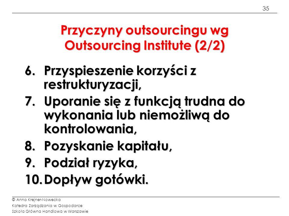 Przyczyny outsourcingu wg Outsourcing Institute (2/2)