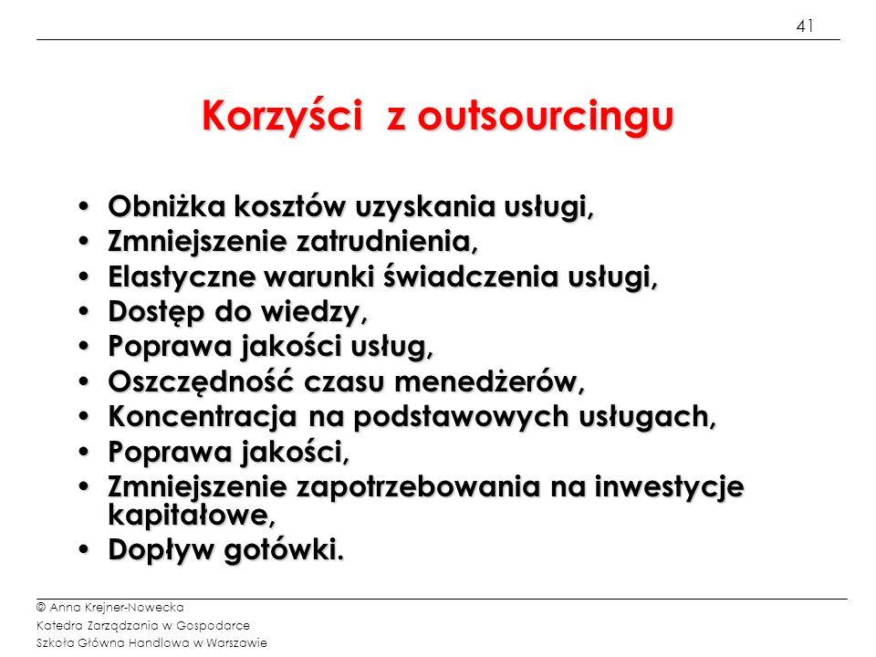 Korzyści z outsourcingu