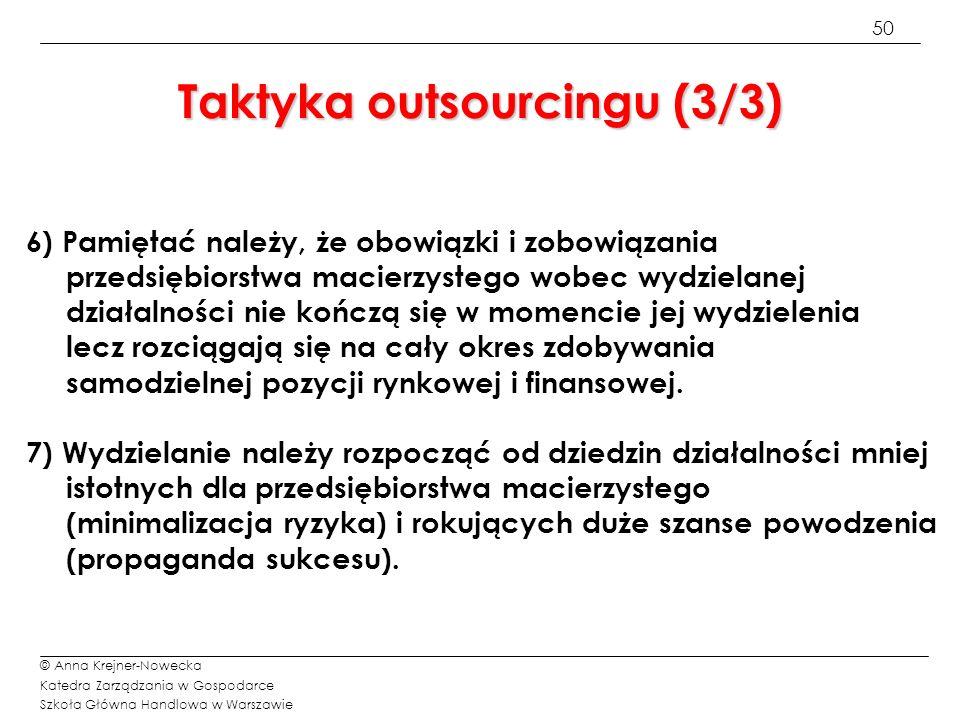 Taktyka outsourcingu (3/3)