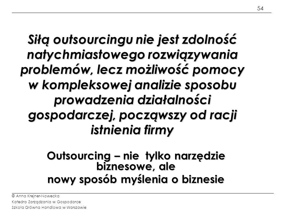 Siłą outsourcingu nie jest zdolność natychmiastowego rozwiązywania problemów, lecz możliwość pomocy w kompleksowej analizie sposobu prowadzenia działalności gospodarczej, począwszy od racji istnienia firmy