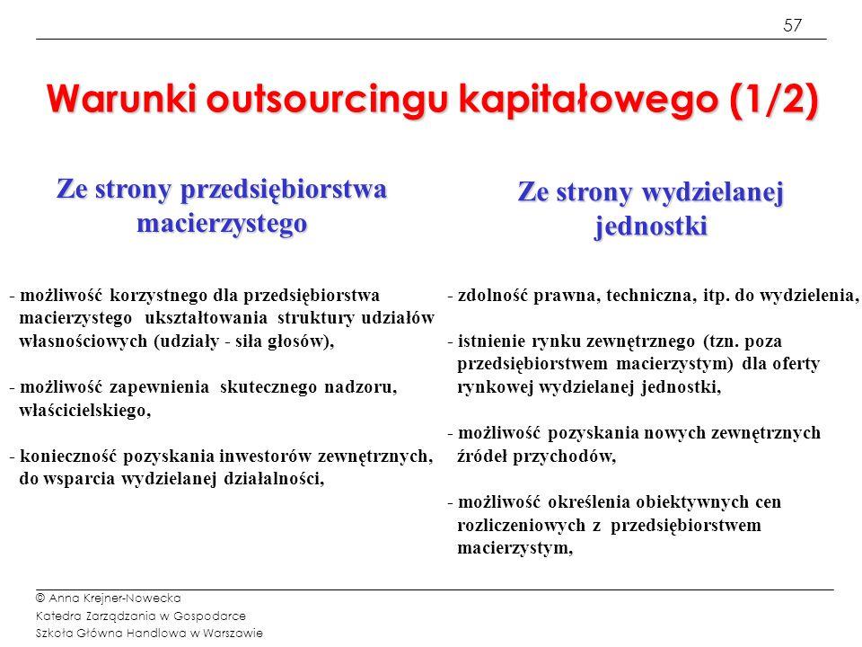 Warunki outsourcingu kapitałowego (1/2) Ze strony przedsiębiorstwa