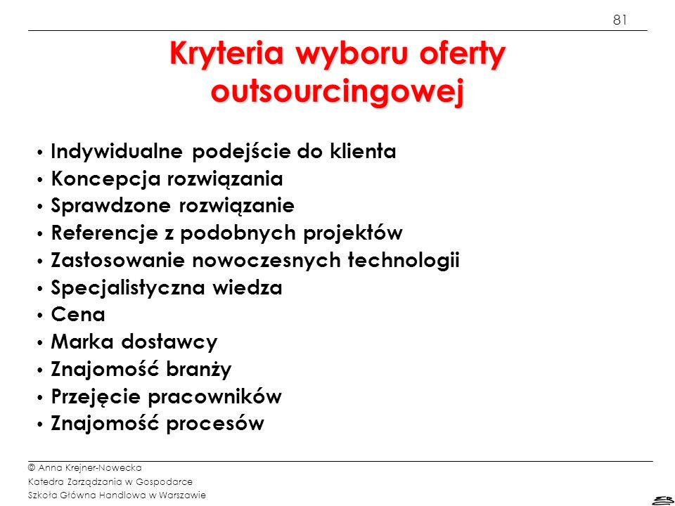 Kryteria wyboru oferty outsourcingowej