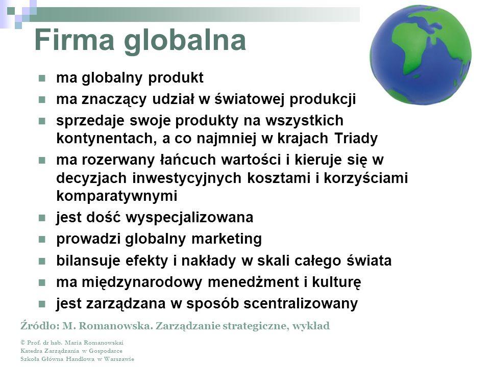 Firma globalna ma globalny produkt