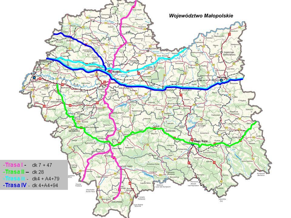 Trasa I - dk 7 + 47 Trasa II – dk 28 Trasa III - dk4 + A4+79 Trasa IV - dk 4+A4+94