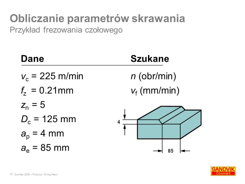 Obliczanie parametrów skrawania Przykład frezowania czołowego
