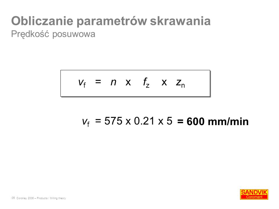 Obliczanie parametrów skrawania Prędkość posuwowa