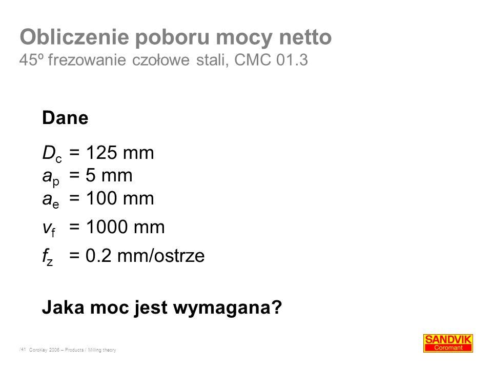 Obliczenie poboru mocy netto 45º frezowanie czołowe stali, CMC 01.3