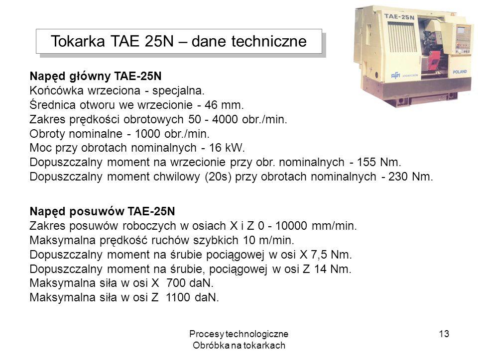 Tokarka TAE 25N – dane techniczne