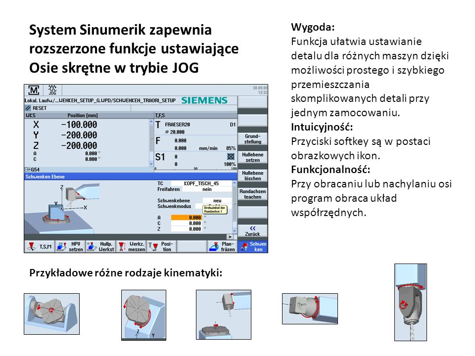System Sinumerik zapewnia rozszerzone funkcje ustawiające Osie skrętne w trybie JOG