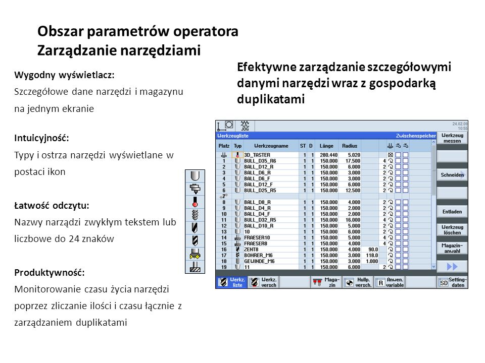 Obszar parametrów operatora Zarządzanie narzędziami