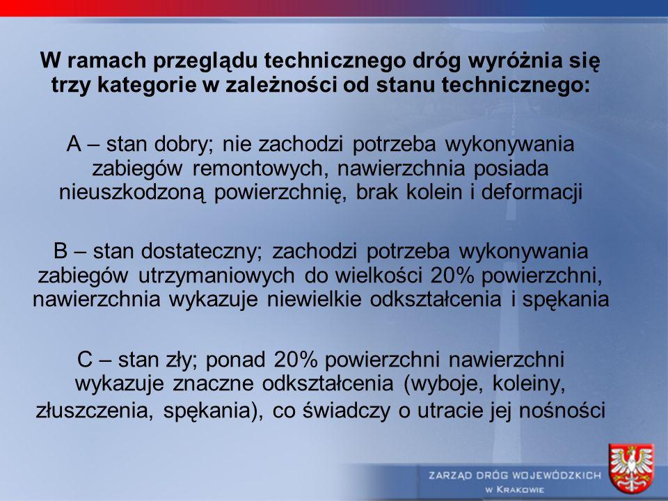 W ramach przeglądu technicznego dróg wyróżnia się trzy kategorie w zależności od stanu technicznego:
