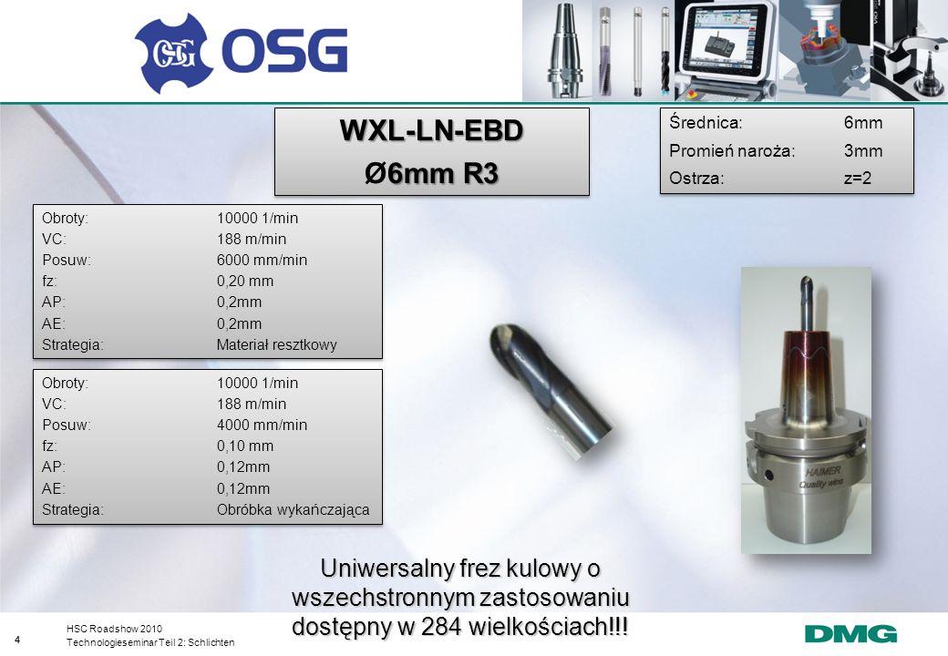 WXL-LN-EBD Ø6mm R3. Średnica: 6mm. Promień naroża: 3mm. Ostrza: z=2. Obroty: 10000 1/min. VC: 188 m/min.
