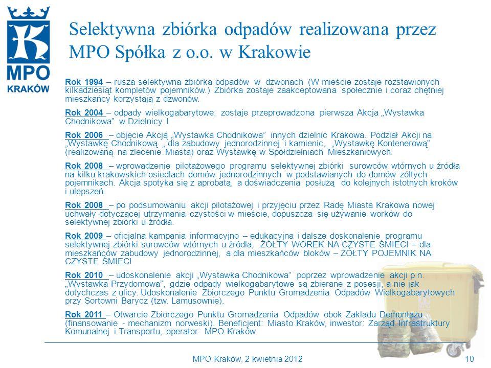 Kilka słów o MPO Kraków Selektywna zbiórka odpadów realizowana przez MPO Spółka z o.o. w Krakowie.