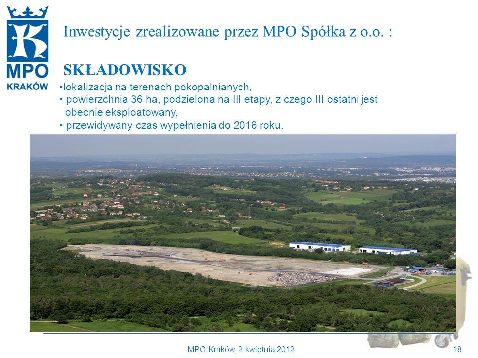 Kilka słów o MPO Kraków Inwestycje zrealizowane przez MPO Spółka z o.o. : SKŁADOWISKO. lokalizacja na terenach pokopalnianych,