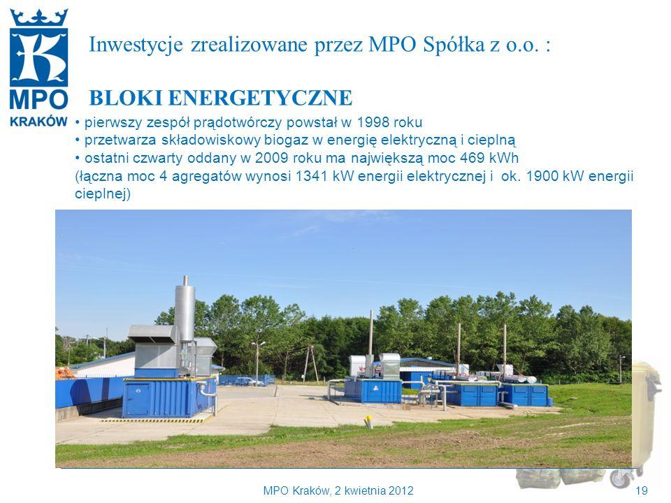 Kilka słów o MPO Kraków Inwestycje zrealizowane przez MPO Spółka z o.o. : BLOKI ENERGETYCZNE. pierwszy zespół prądotwórczy powstał w 1998 roku.