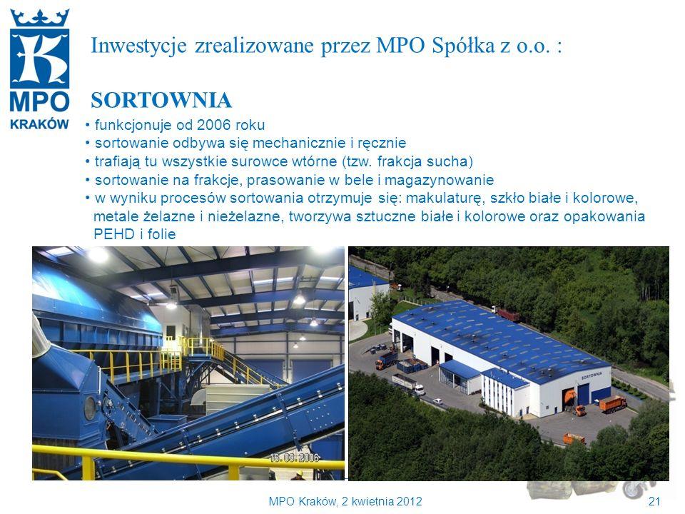 Kilka słów o MPO Kraków Inwestycje zrealizowane przez MPO Spółka z o.o. : SORTOWNIA. funkcjonuje od 2006 roku.
