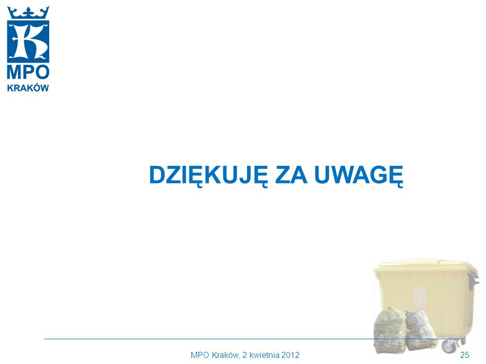 DZIĘKUJĘ ZA UWAGĘ MPO Kraków, 2 kwietnia 2012