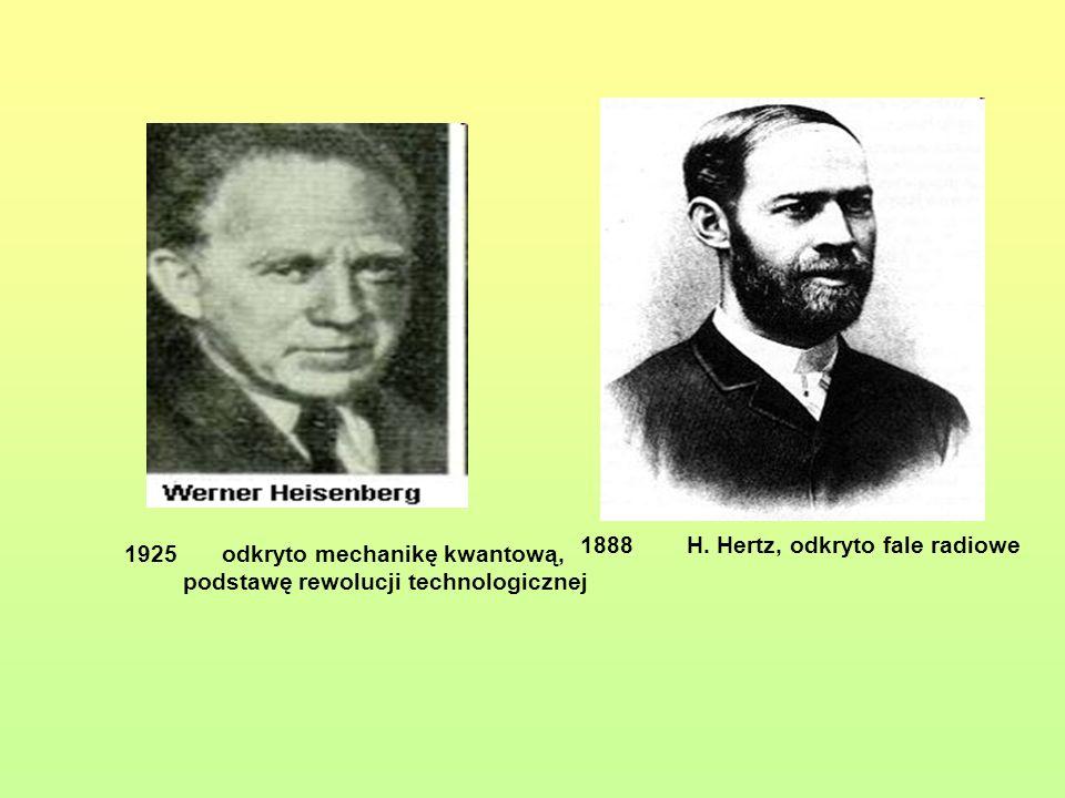 1888 H. Hertz, odkryto fale radiowe
