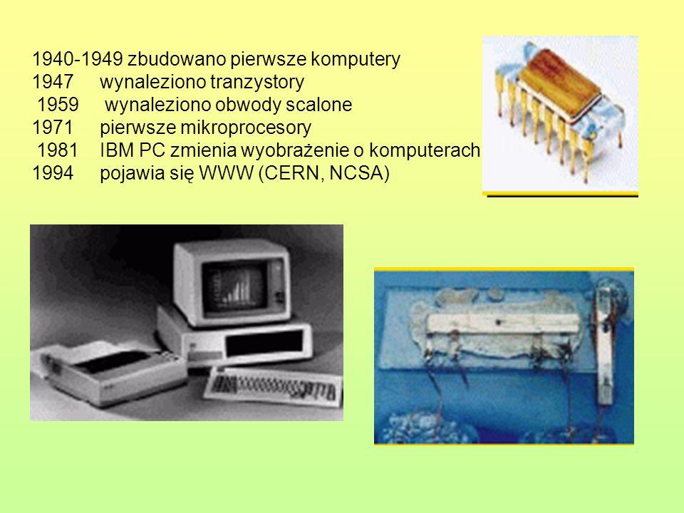 1940-1949 zbudowano pierwsze komputery. 1947 wynaleziono tranzystory