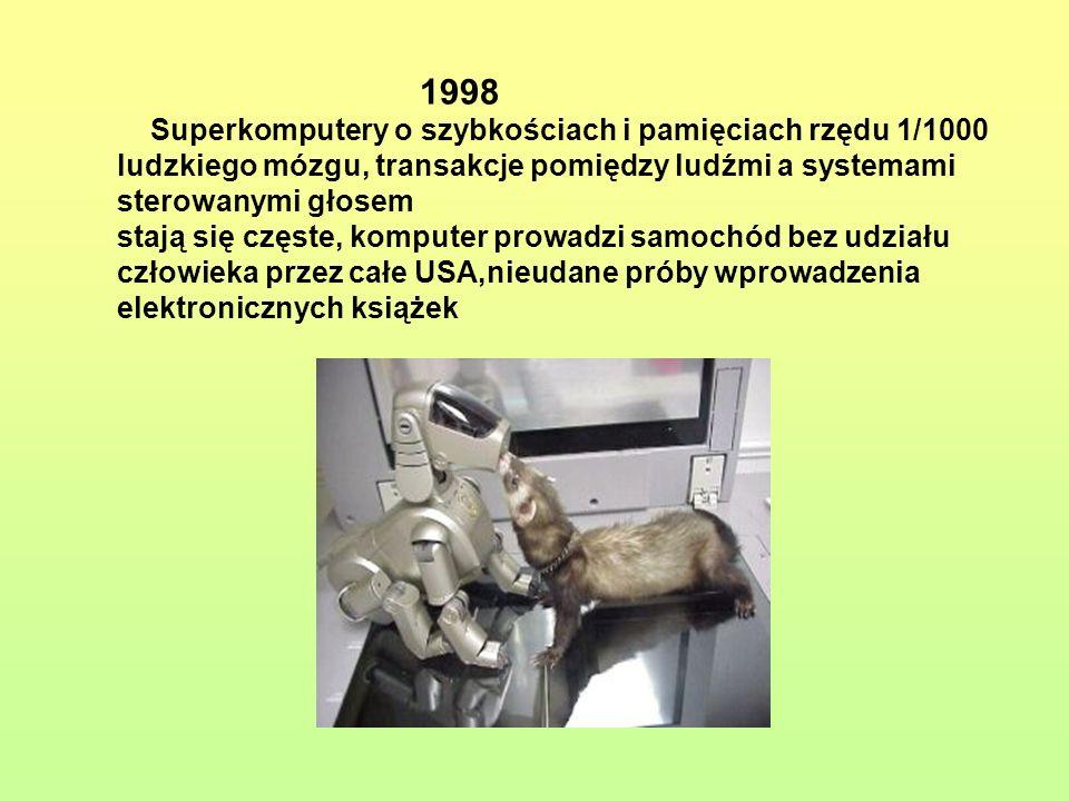 1998Superkomputery o szybkościach i pamięciach rzędu 1/1000. ludzkiego mózgu, transakcje pomiędzy ludźmi a systemami.