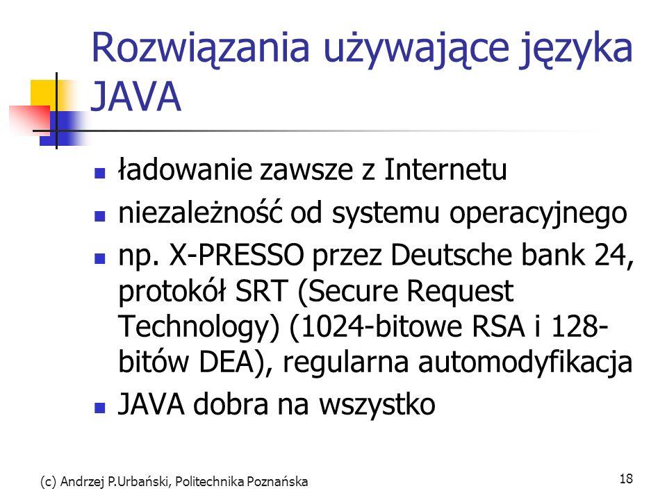 Rozwiązania używające języka JAVA