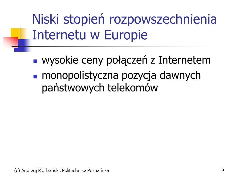 Niski stopień rozpowszechnienia Internetu w Europie