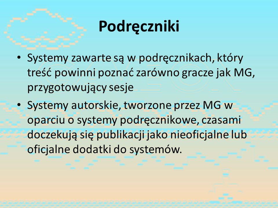 Podręczniki Systemy zawarte są w podręcznikach, który treść powinni poznać zarówno gracze jak MG, przygotowujący sesje.