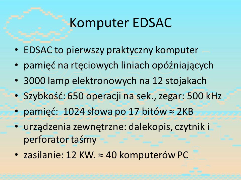 Komputer EDSAC EDSAC to pierwszy praktyczny komputer
