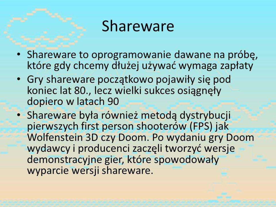 Shareware Shareware to oprogramowanie dawane na próbę, które gdy chcemy dłużej używać wymaga zapłaty.