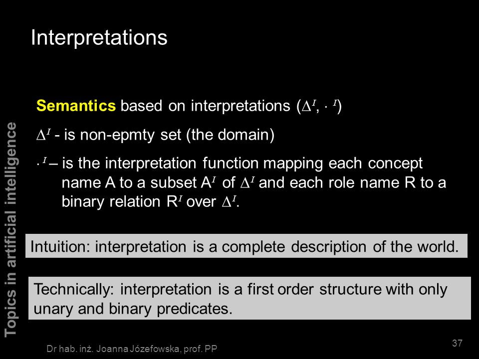 Interpretations Semantics based on interpretations (DI,  I)