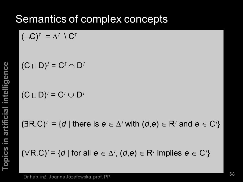 Semantics of complex concepts