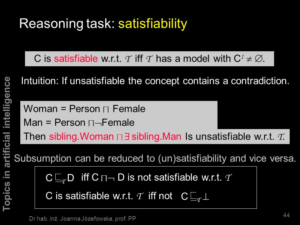 Reasoning task: satisfiability