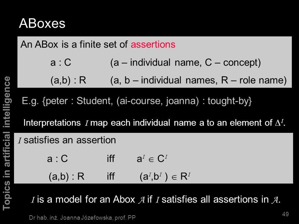 ABoxes An ABox is a finite set of assertions