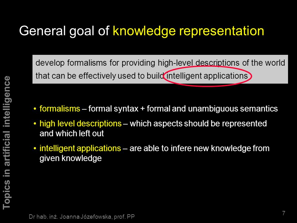 General goal of knowledge representation